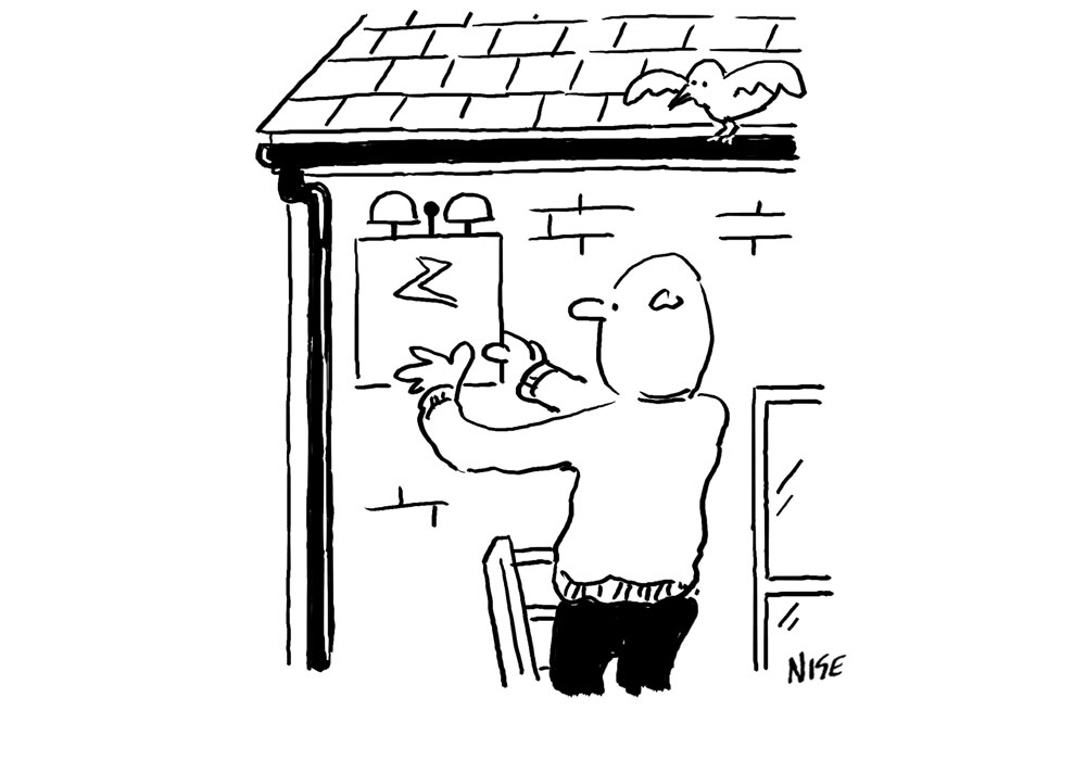 Alarm fitter is up a ladder fitting a new alarm to a wall. A cartoon illustration.