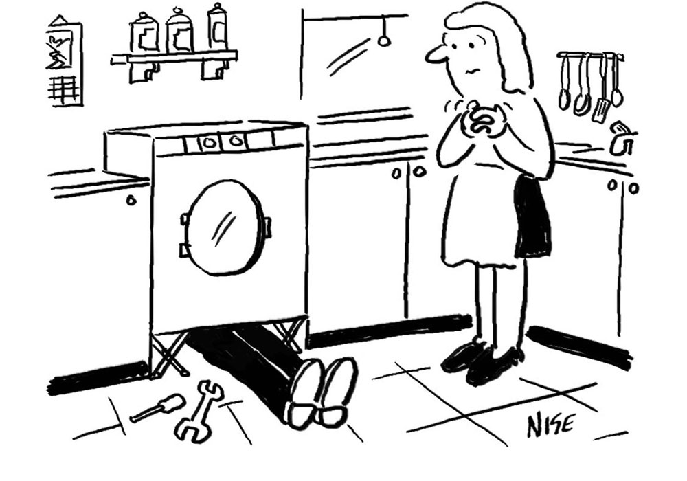 Man is on the floor mending a washing machine. Anxious woman is looking on.  Kitchen appliance repairs cartoon