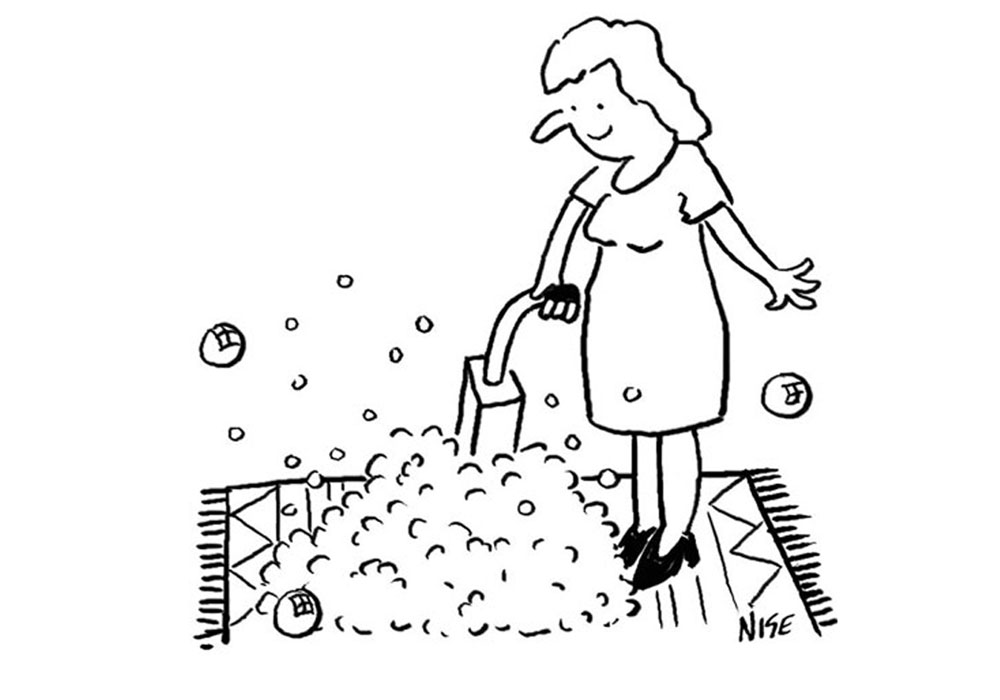 Cartoon of a woman using a carpet cleaner with lots of bubbles as she does her carpet cleaning