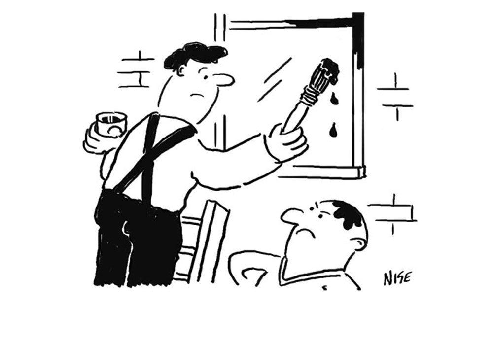 Painter and decorator cartoon shows a man up a ladder painting a window frame, and paint has dripped onto another man's head