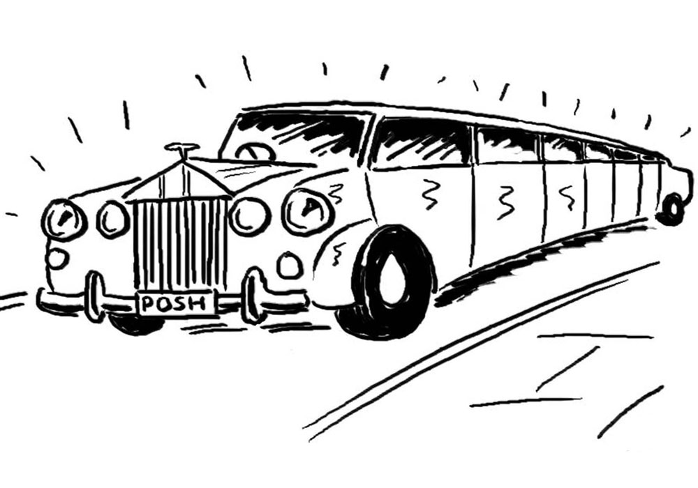 Luxury stretch limousine car hire cartoon