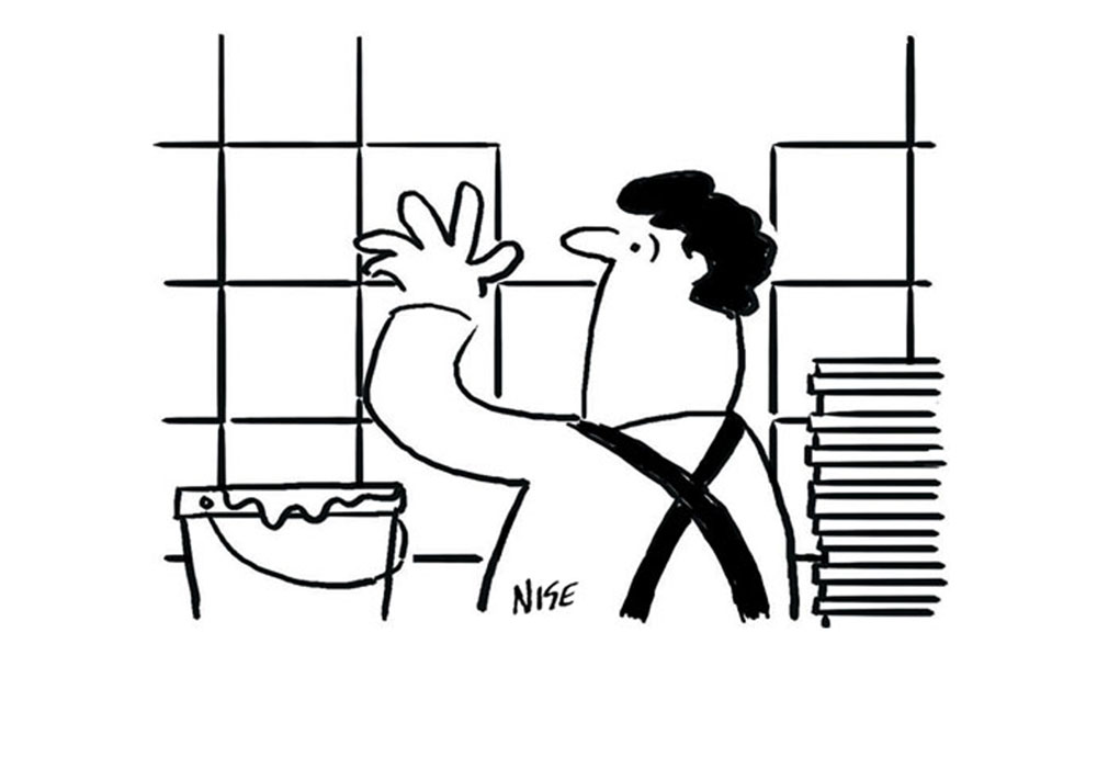 Cartoon of a tile fitter tiling a kitchen or bathroom wall