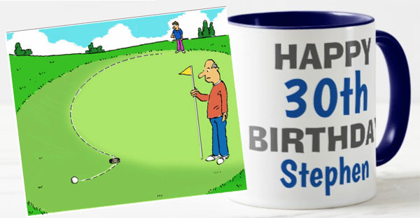 Golf missed putt mug cartoon